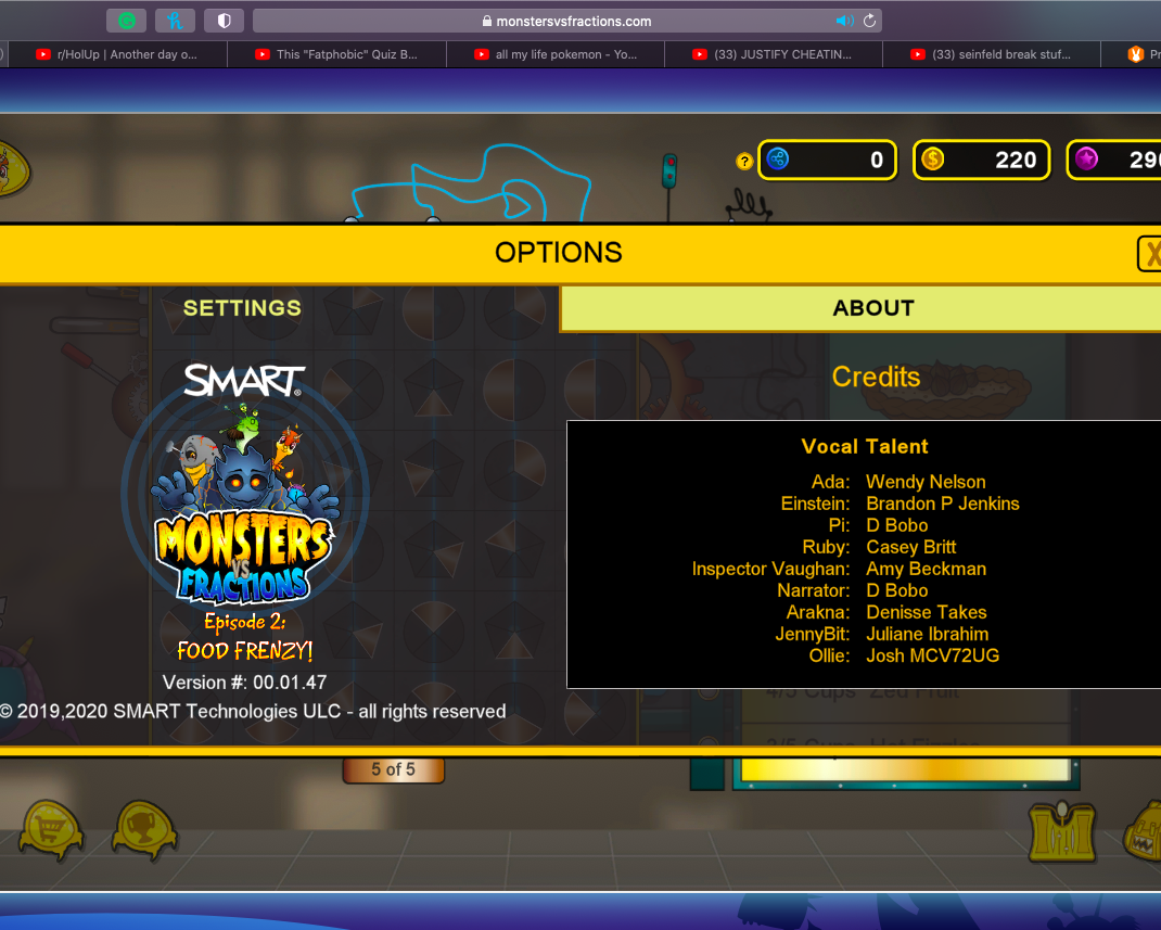 A screen shot of the about page of the online game Monsters Vs Fractions showing the vocal talent credits.
