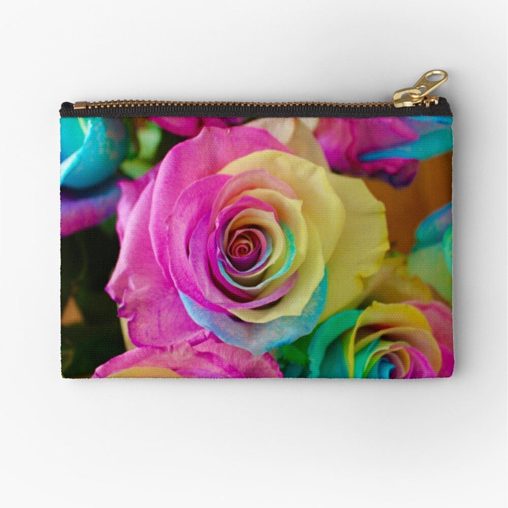 A small zipper pouch with vibrantly colored rainbow roses printed on it.