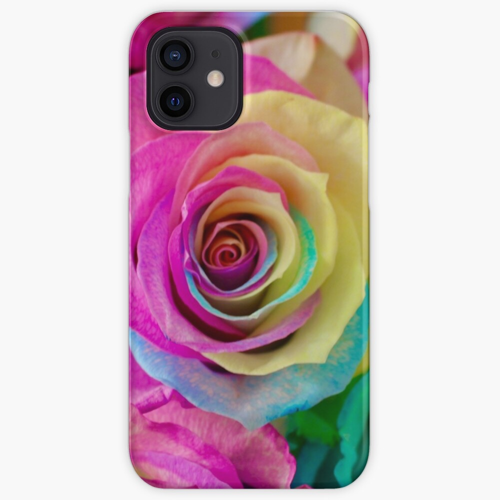 iPhone case printed with rainbow petalled roses.